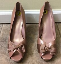 Nine West Heels Pink Patent 9M Fabric Bow Open Toe Platform Pumps Shoes