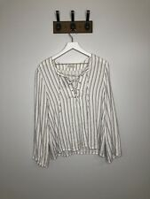 WAYF Lace Up Vertical Striped Long Sleeve Blouse Size M