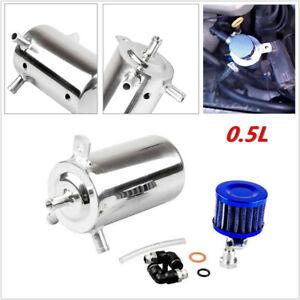 Universal Car 0.5L Aluminum Oil Catch Can Reservoir Tank w/ Breather Filter Firm