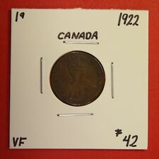 1922 Canada One Cent Penny Coin BC 34 - $42 VF - Key Date