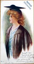 1906 'Lowney's Chocolates' Advertising Postcard: College Girl, Postally-Used