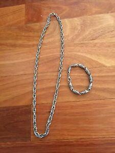 Unisex Silver Fashion Jewellery Necklace & Bracelet ( 2 items)