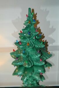 "Vintage Atlantic Mold Ceramic Lighted Christmas Tree 14""  No Base"