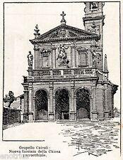 Gropello Cairoli: Chiesa. Lomellina. Pavia. Stampa Antica + Passepartout. 1901