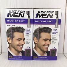 JUST FOR MEN -Touch Of Gray T-45 Dark Brown Haircolor Kit - 2 Pack -  BRAND NEW