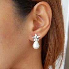 #E592  Boucles d'Oreilles Etoile Argent massif 925 véritables Perles Baroques