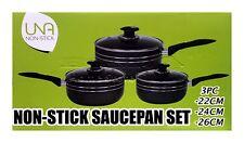 3PZ ANTIADERENTE Cookware Set Saucepan POT con coperchi battenti Induzione Pan NERO P9
