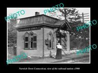 OLD 8x6 HISTORIC PHOTO OF NORWICH TOWN CONNECTICUT THE RAILROAD STATION c1900