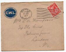 1917 C. W.L. Stampato BUSTA & Teste di carta da soldato Lionel andare in Francia