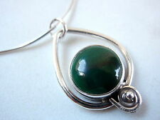 Green Malachite Pendant 925 Sterling Silver Corona Sun Jewelry