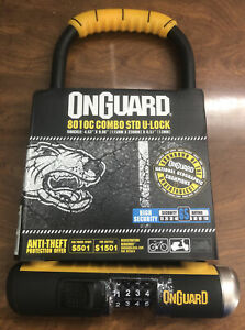 "OnGuard Bulldog 8010C Combo STD Combination Bike U-lock 9"" x 4.5"" with Bracket h"