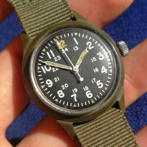 Vintage BENRUS Military watch - Mil-w-46374 A - 1975 - Early dial - 35.5mm