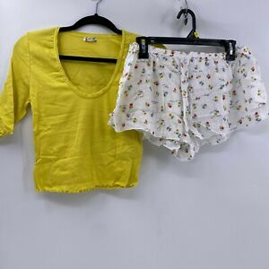Free People Up Late Crop Top & Shorts Pajama 2-Piece Set sz M NWT Spring Combo