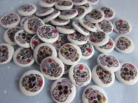 15mm Round White Assorted Skull Buttons 2 Hole Halloween in Packs of 2, 5 or 10