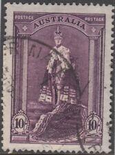 Stamp Australia 10/- violet robe thin paper variety shade breaks down column