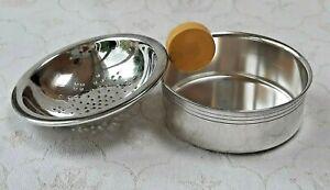 Vintage Swedish nickel silver tea strainer with yellow handle