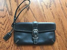 COACH Wristlet Wallet Black Leather with Buckle