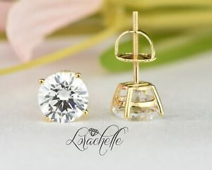 3.0 ct Brilliant Round Cut Screw Back Earring Studs Real Solid 14K Yellow Gold