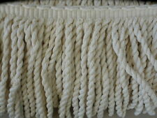 "Conso 8"" Woven Bullion Fringe Trim Ivory Cotton Acetate Made USA sample"