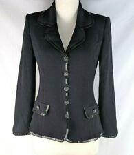St John Womens 2 Black Ribbed Santana Knit Embellished Button Blazer