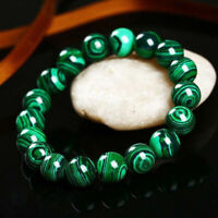 Handmade Natural 10mm Green Malachite Round Gems Beads Elastic Bracelet 7.5''