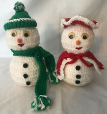 Vintage Knitted Mr. & Mrs. Snowmen Adorable