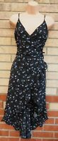 H&M BLACK BLUE KHAKI FLORAL WRAP BELTED SIDE STRAPPY A LINE FRILL TEA DRESS 14