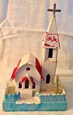 Antique Vintage Putz Steeple Church Cardboard Frosted Christmas Village Japan's