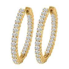 New 4.20 ct.Round Cut Diamond Hoop Huggie Earrings G/SI1 in 14KT Yellow Gold