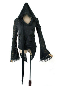 New PUNK RAVE Rock Gothic Witchy Black T-Shirt Top Blouse with Hood T-260