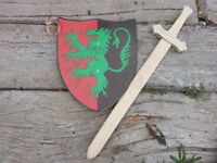 Rampant Lion shield and sword set children toy knight