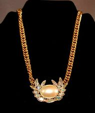 491332c4e5993a OVER THE TOP Signed YSL/Yves St. Laurent AB Rhinestone;Faux Pearl Necklace