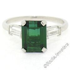 VINTAGE 18ct Oro Blanco 2.62ct Verde Turmalina ANILLO SOLITARIO CON / Diamante