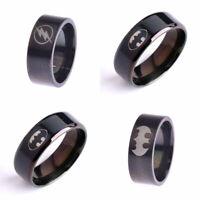 New Fashion Black Men Batman Superman Superhero Symbol Stainless Steel Ring 6-14