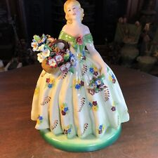 """VINTAGE PORCELAIN VICENZA ITALY MAJOLICA 12"""" LADY W BASKET OF FLOWERS SCULPTURE"""