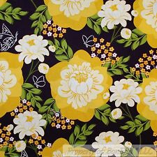 BonEful Fabric Cotton Quilt Brown Yellow Flower Large Green Leaf Beach VTG SCRAP