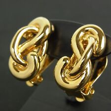 Auth NINA RICCI Chain Motif Clip-on Earrings Accessory Gold F/S 2762
