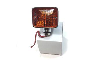 Hot Rod Universal Large Turn Signal Light Chrome Steel Housing Amber