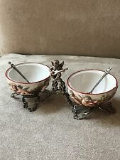 Antique Italian Capodimonte 800 Silver ANGEL CHERUB Condiment Set SALT CELLAR