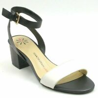 Isaac Mizrahi Leather Ankle Strap Sandals Size US 7.5M Cream Black Madeline
