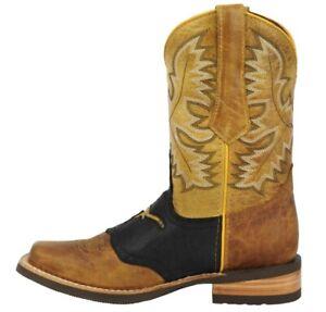 Mens Cowboy Boots Western Dress Bull Design Genuine Leather Square Toe Botas