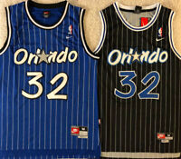 #32 Shaq Shaquille O'Neal Men's Orlando Magic Throwback White/Black/Blue Jersey