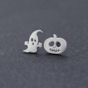 1 Paire Boucles d'oreilles Puces Fantôme en Argent Sterling 925 Halloween Noël
