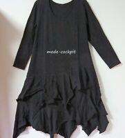 BORIS INDUSTRIES super cooles Kleid A-Linie & Zipfel uni schwarz 46 (4)