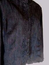 Dress Barn Womens Large Black Stretch Denim Jacket Blazer Black Rhinestones