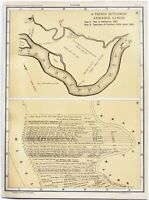 1807 Kaskaskia French Settlement Map Mississippi River Plat Names EXRARE
