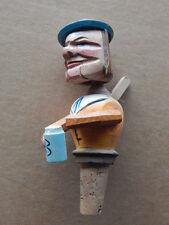 Vintage Anri Carved Wood Bottle Stopper Mechanical Man Drinking Beer-Nice!
