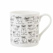 PUG POSITIONS MUG by Gemma Correll - Cute gift present - Boxed - Bone China cup