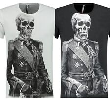 Mens Blackrock Skull Diamante Slim Fit Tee T Shirt