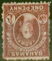 Bahamas 1863 1d Carmine-Lake SG21w Wmk Inverted Fine & Fresh Mtd Mint